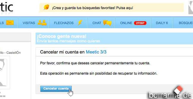 borrar Meetic cuenta cancelar suscripcion