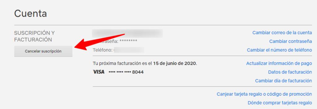 Netflix pagina de cuenta , seleccionamos Cancelar suscripción
