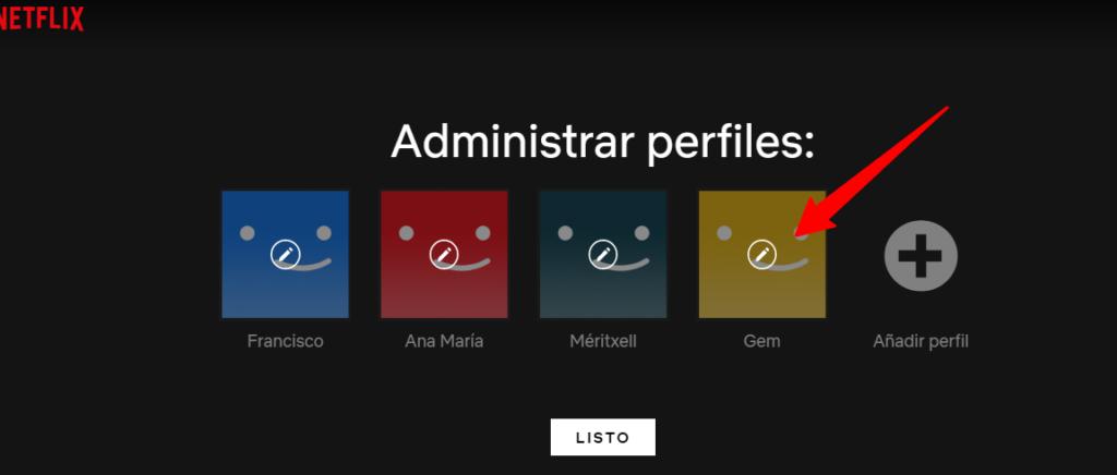 Netflix selección de perfil