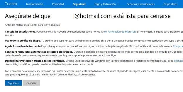 Eliminar cuenta Hotmail