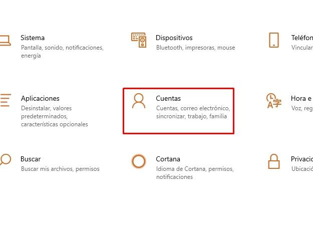 Configuracion cuentas en windows 10