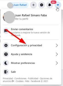 Configuración y privacidad de Facebook