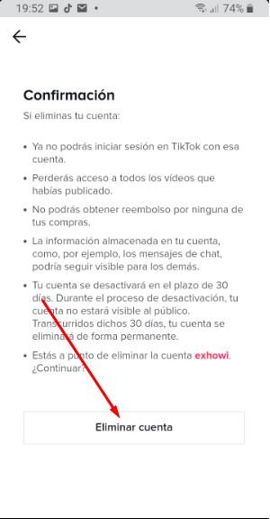 verificacion eliminar cuenta TikTok