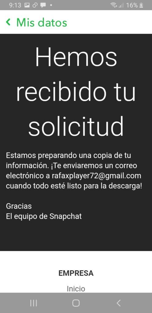 Mensaje de confirmacion de solicitud descarga de daos en Snapchat