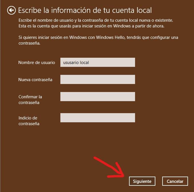 Datos para pasar a cuenta local en Windows 10