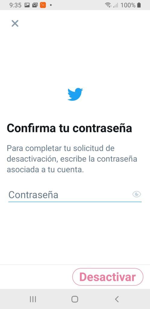 confirmar desactivar cuenta Twitter