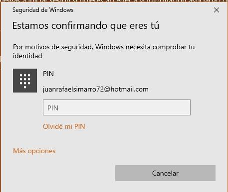 Confirma el pin para cambiar a cuenta local en windows 10