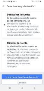desactivacion eliminación facebook