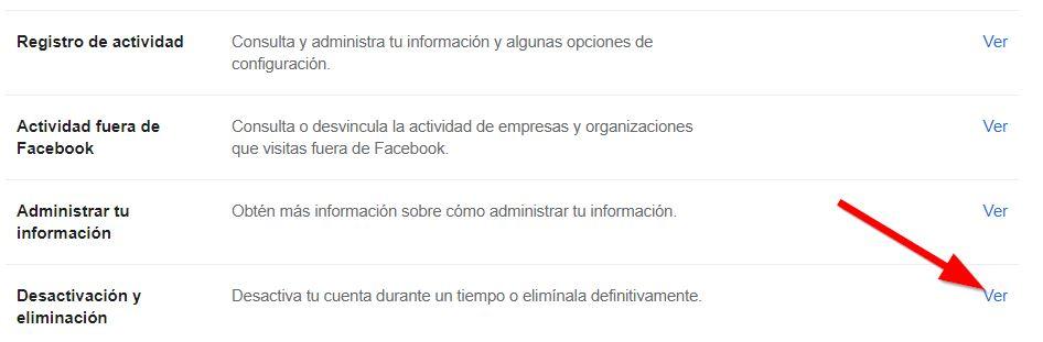 Desactivar o eliminar facebook