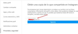 Descarga datos Instagrama formulario email
