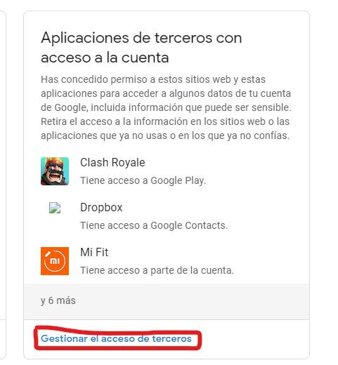 gestion acceso terceros google