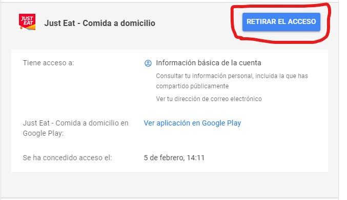 retirar acceso aplicacion google