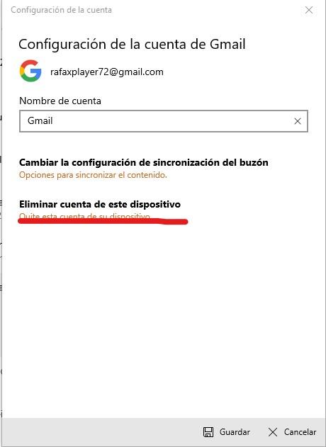 Eliminar cuenta de correo de windows 10