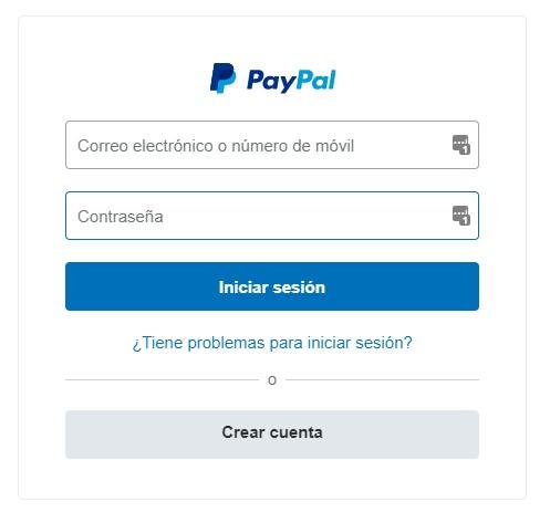 Iniciar sesión Paypal