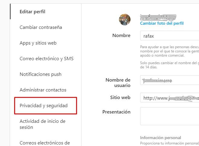Instagram menu . seguridad y privacidad