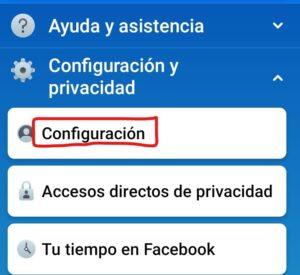 menu configuracion facebook