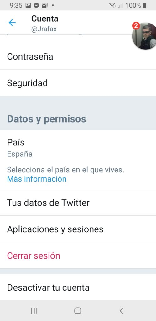 Twitter desactivar cuenta