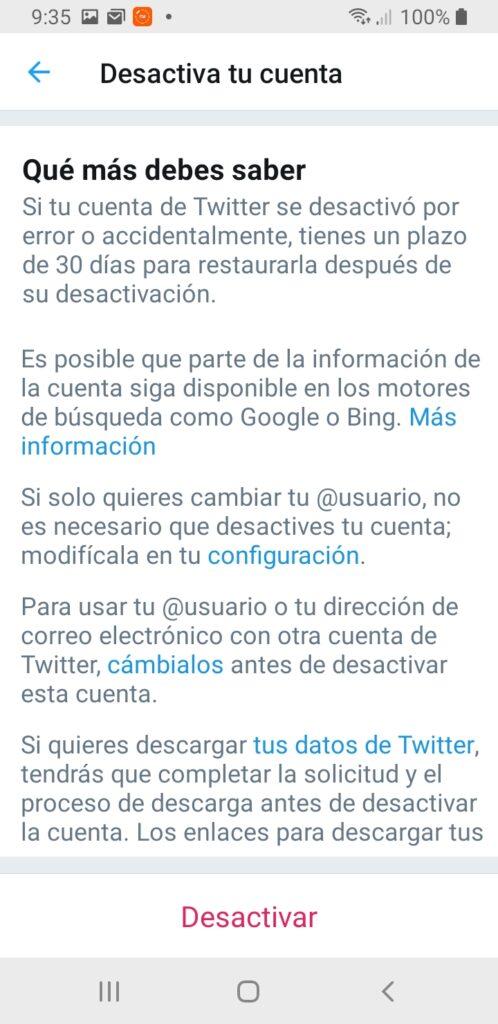 Twitter desactivar cuenta consecuencias
