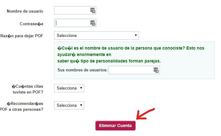 POF Eliminar perfil formulario