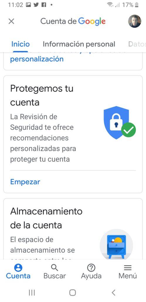 cuenta google opciones