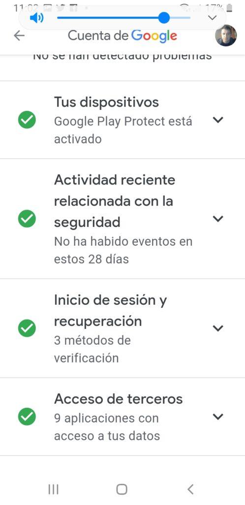menu protegemos tu cuenta google android