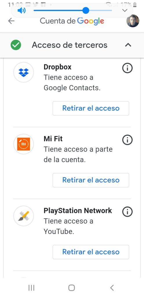 lista de accesos a terceros google