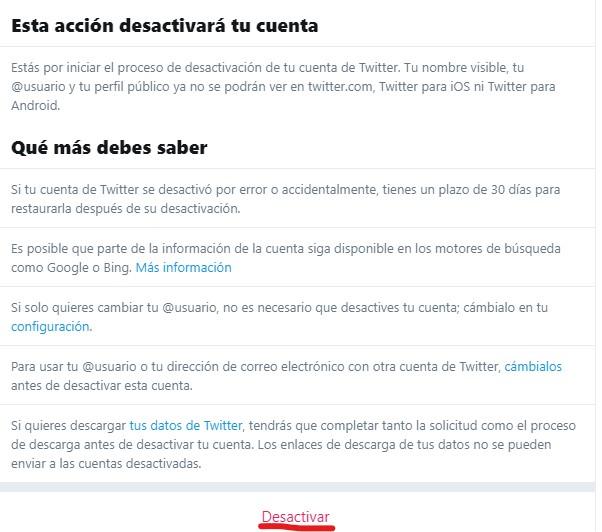 Twitter consecuencias eliminar cuenta