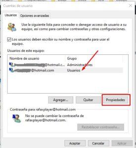 Usuario propiedades Windows 10
