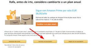 Amazon prime eliminar suscripción