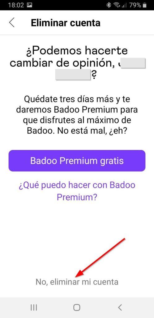 Confirmar eliminar cuenta Badoo