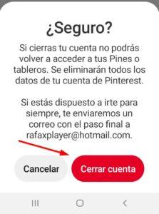 Confirmacion de cerrar cuenta en Pinterest