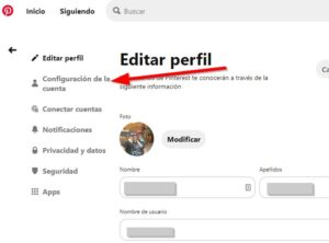 Configuracion de cuenta en Pinterest