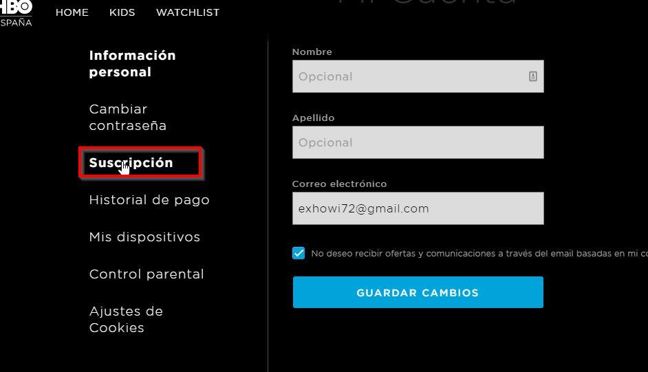 HBO configuracion, suscripción.