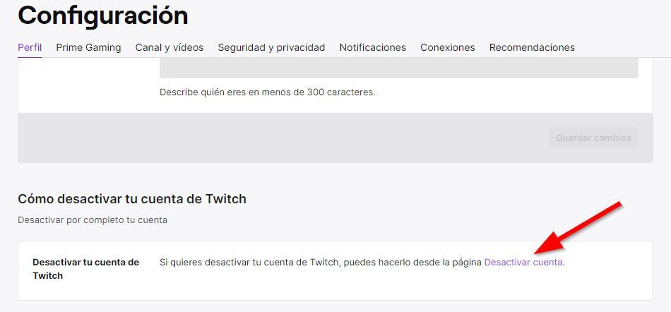 Desactivar cuenta en Twitch