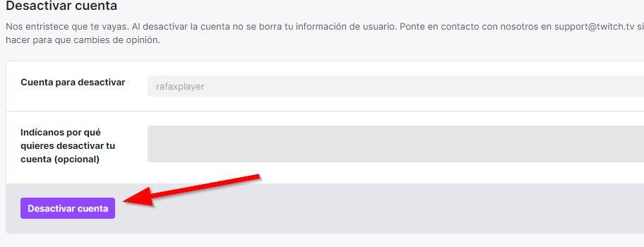 Desactivar cuenta twitch formulario