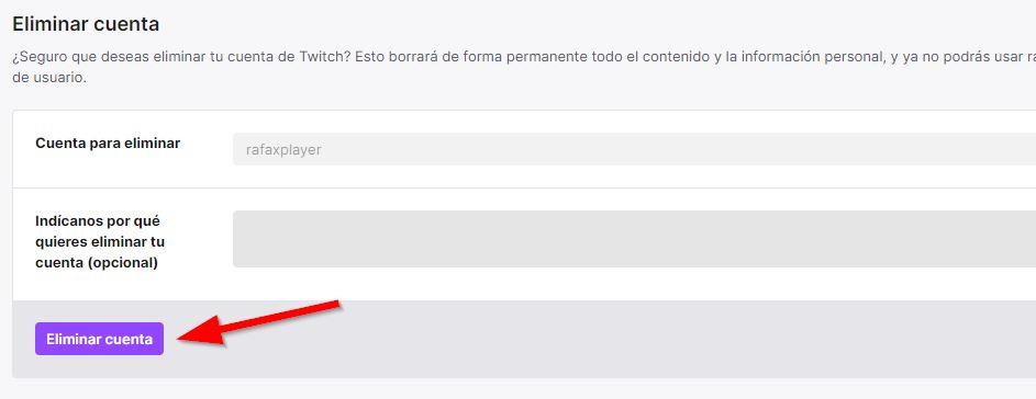 twitch, formulario eliminar cuenta