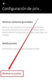 Borrar cuenta de Uber eats